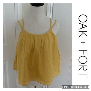 OAK + FORT NEW Top Baby doll tiered Yellow Small